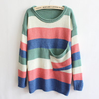 Green Multicolor Stripe Pocket Sweater