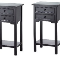 2 Nightstands Black Wood Two Drawer and Shelf Side Table