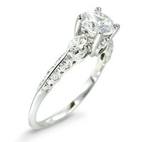 0.30 Ct Antique Style Diamond Engagement Ring Setting 18k White Gold