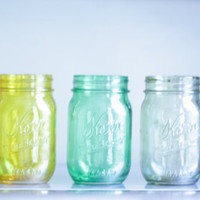 $25.00 set of 5 tinted mason jars by CamlieInc on Etsy