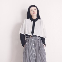 BLACK & WHITE CAPE BLOUSE