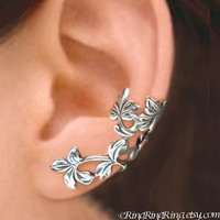 925 Spring Leaf branch  Sterling Silver ear cuff by RingRingRing