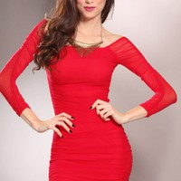 Red Off Shoulders Mesh Overlay Ruched Sides Sexy Party Mini Dress @ Amiclubwear sexy dresses,sexy dress,prom dress,summer dress,spring dress,prom gowns,teens dresses,sexy party wear,women's cocktail dresses,ball dresses,sun dresses,trendy dresses,sweater
