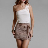Cream/Mocha One Shoulder Dresses