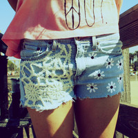 Denim Jean Shorts Crochet SMALL // 2013 by UnraveledClothing