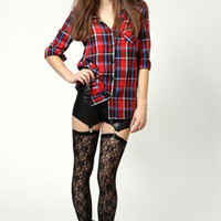 Kate Suspender Style Lace Leggings With PU Upper
