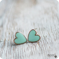 Earring Studs  Mint green Hearts by Dariami on Etsy