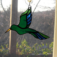 Stained Glass Hummingbird Sun Catcher Blue Amber Green