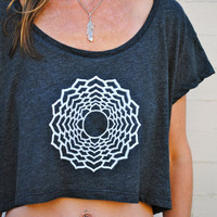 Crown Chakra Love Crop Top - Almost Black