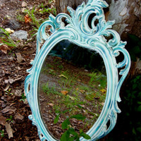 Custom Vintage Syroco Mirror French Country Paris Apartment Ornate Romantic Cottage Chic Curvy Oval Mirror Design Du'Jour