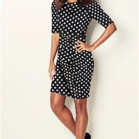 Buy Black And White Spot  Sleeve Crepe Dress online today at Next Direct United States of America
