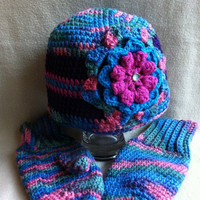 That&#x27;s Hot  Hat and Mitten set in multi by HookinItbyBellaBeanz