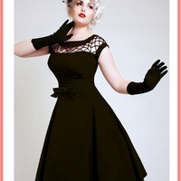 Bettie Page 50s Inspired Black Fishnet Top Alika Swing Dress-Vintage Style Dresses