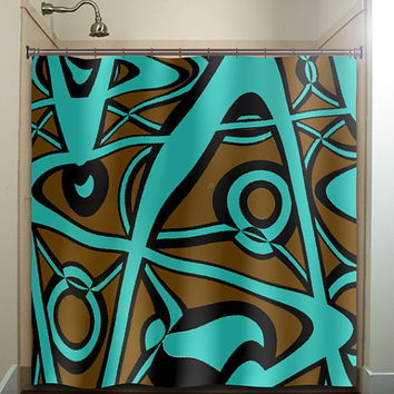 Abstract Turquoise Brown Shower Curtain From Tablishedworks On