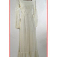 60s 70s Ivory Bohemian Empire Maxi Dress-1960s 1970s Vintage Hippie Dresses
