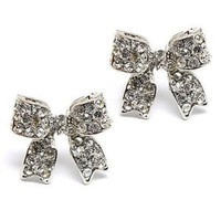 Fashion Crystal Pave Bow Ribbon Stud Earrings Silver: Jewelry: Amazon.com