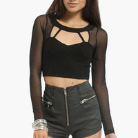 Cut to the Mesh Crop Top $36