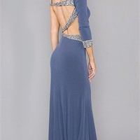 Jovani Grey Crystal Stone Long Dress