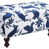 One Kings Lane - Better Living - Indigo Forest-Print Otoni Ottoman