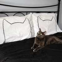 His and Hers Cat Nap Pillow cases, King Size Set of 2, 200TC, gift for couples, unique bedding, shipping mid-January, Valentine&#x27;s Day Gift