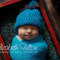B Is For Blue  Blue sock hat with textured by HookinItbyBellaBeanz