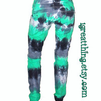 Tie Dye Jeans in Emerald, Gray, and Black - Designer OOAK -Siren Skinnies- (SIZE 6)
