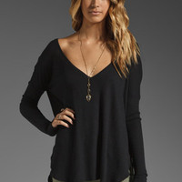 Feel the Piece Robin Thermal Flowy Top with Thumb Holes in Black from REVOLVEclothing.com