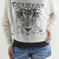 Cheetah Shirt Tiger Shirt - Cheetah T-Shirt Tiger T-Shirt Long Sleeve Bat Sleeve Shirt Crop Tee Crop Top Sweatshirt Women Shirt Free Size