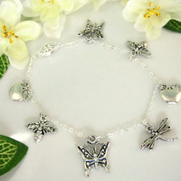 Silver plated butterfly, dragonfly, bee, apple Spring charm necklace
