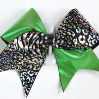 3 Wide Luxury Cheer Bow     Green / Black by BowsWithAttitude