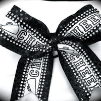 Black & Silver Rhinestone Cheer Megaphone by CheerLover2Worlds