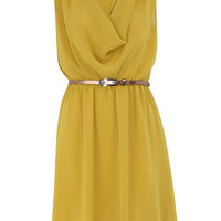 Yellow cowl chiffon dress - Dresses Sale - Dresses - Dorothy Perkins