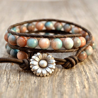 Rustic beaded wrap bracelet. Chunky jade leather wrap
