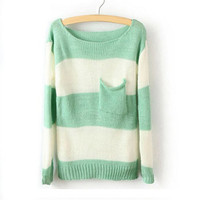 Green White Striped Pullover Sweater