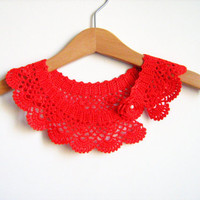 Collar Necklace, Handmade crochet Peter Pan Collar Necklace, Red lace collar ready to shipping, for her.