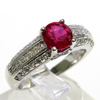 Awesome 1 Ct Ruby 925 sterling silver Micro Pave ring size 6