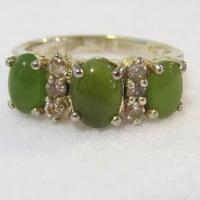 Vintage sterling silver 925 JC Green Cabochon & CZ Band ring size 6