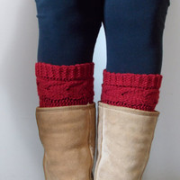 Hand Knitted Madison Cable Boot Cuffs in RED
