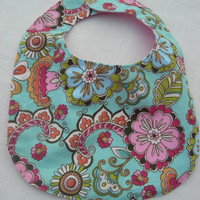 Flirty Floral Pink Snuggly Flannel & PUL Baby Girl Reversible Bib