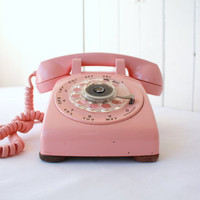 Pink Rotary Phone Western Electric Model by SummerHolidayVintage