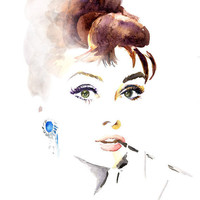 Audrey Hepburn Print of Original watercolor 9x12 by soo210 on Etsy