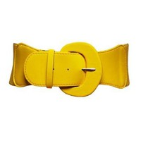 Amazon.com: Yellow Round Patent Leather Elastic Cinch Belt: Clothing