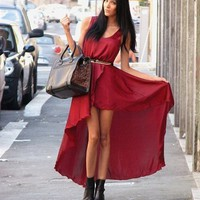 Love Aubergine Asymmetrical Maxi Dress- Love Hi Low Dresses- Love Dresses- $84.99
