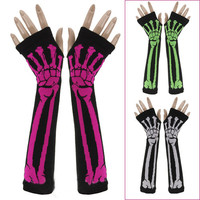 Fashion Gothic Punk Skeleton knitted Winter Arm Warmer Long Fingerless Gloves