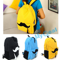 Women Girl Lady Fashion Canvas Cute Mustache School Book Campus Bag Backpack