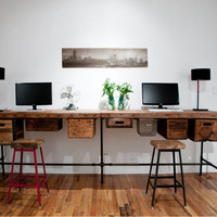 "Reclaimed wood desk with steel pipe legs and 2 drawers included, 48"" x 26"" x 30"" h, 1.65"" top"