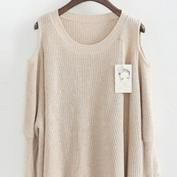 Beige Off the Shoulder Women Knitting Sweater One Size YS1017be from efoxcity