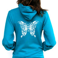 Butterfly - Teal American Apparel Unisex Hoodie - XXS, XS, Small, Medium, Large, Extra Large, 2XL