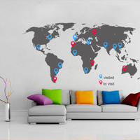 World Map decal with pins for housewares