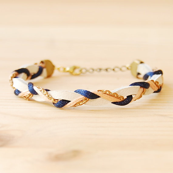 Leather & Brass Braided Bracelet in Navy and Coral by sonofasailor